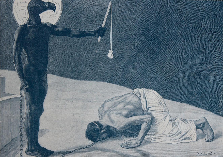 Mammon und sein Sklave - wood engraving (incisione) - 1894/95