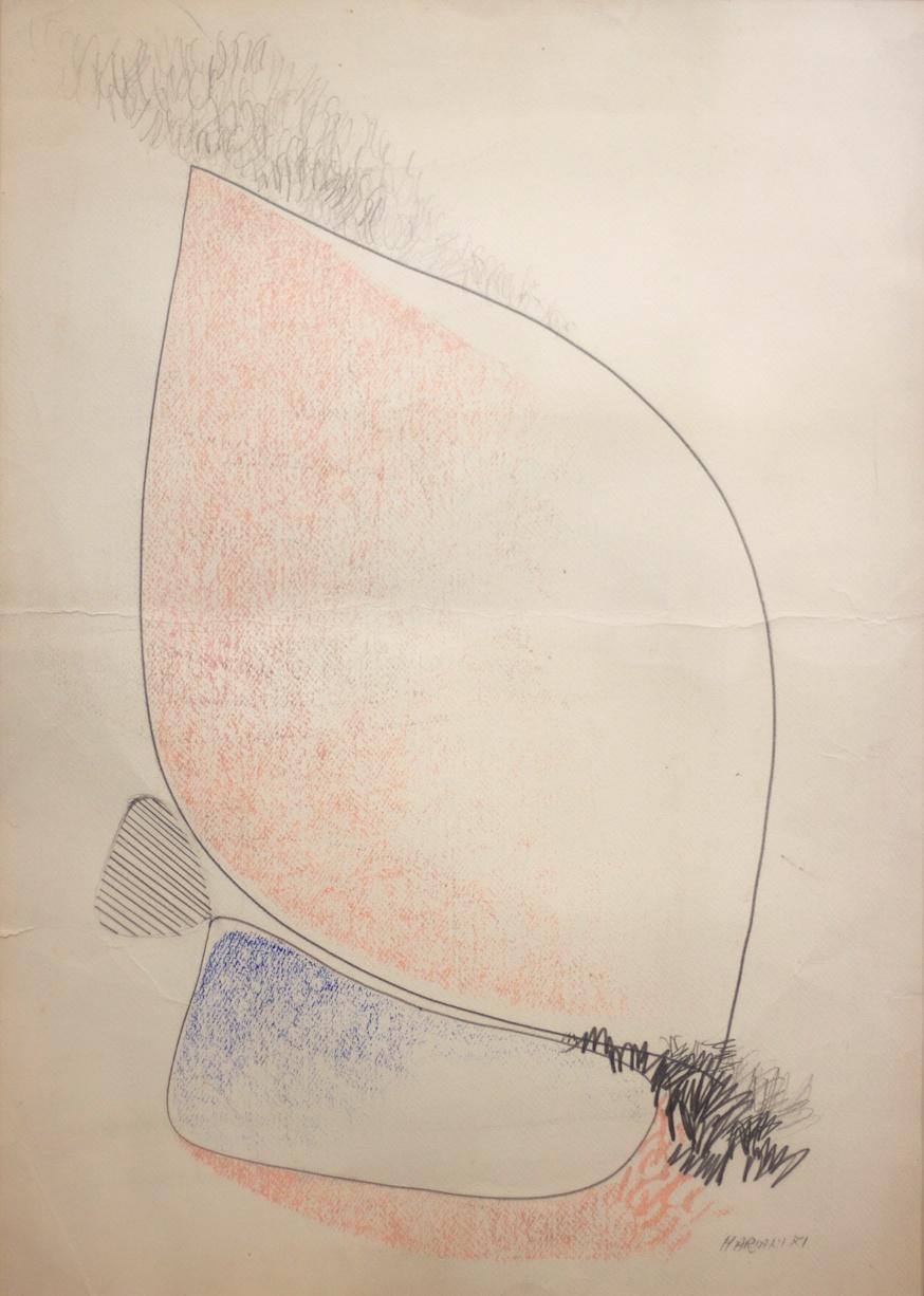 Cellule Antropomorfe (Anthropomorphic Cells) - pastello ad olio, matita e carboncino su carta (oil pastel, pencil and charcoal on paper) - 1971