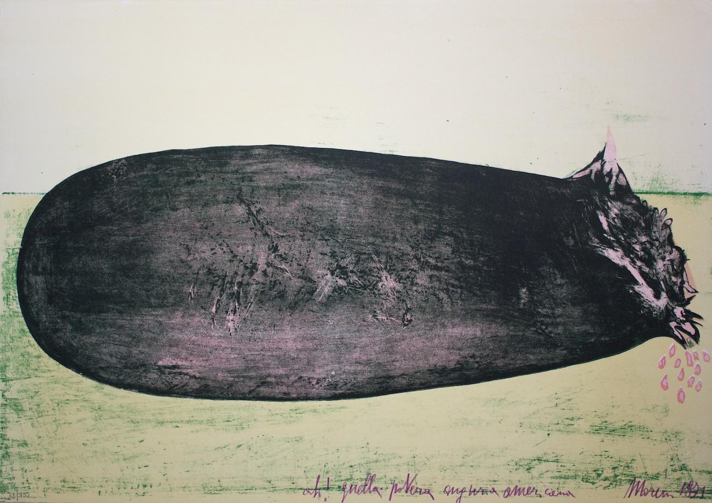 Ah! Quella povera anguria americana (Ah! That poor american watermelon) - litografia su carta (lithography on paper) - 1971