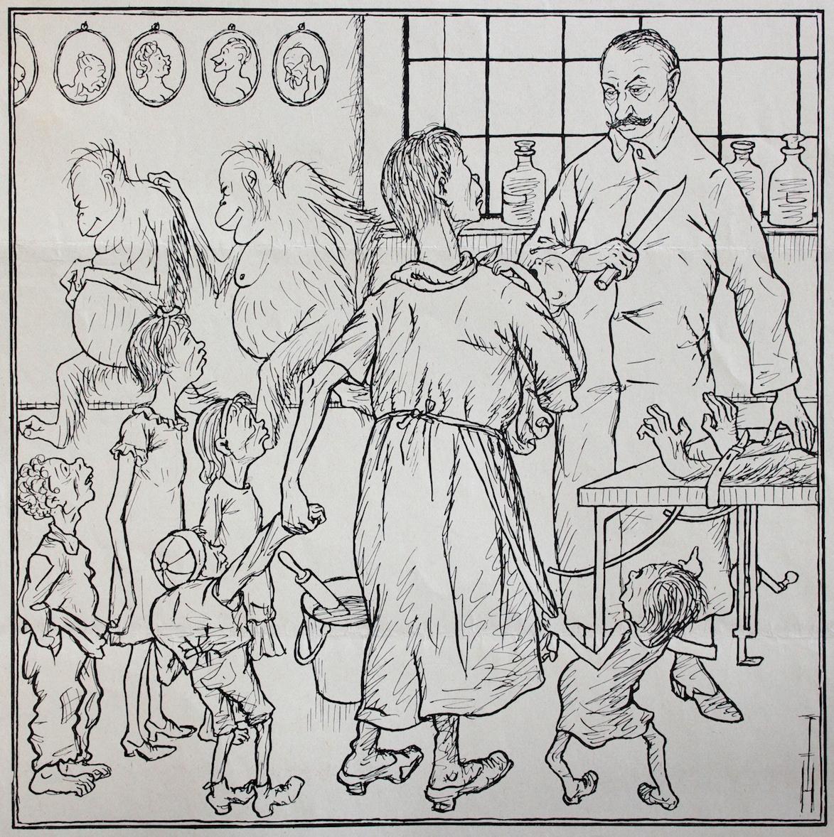 Thomas Theodor Heine - Bei Professor Voronoff (With Professor Voronoff) - Lithograph on paper - 1926