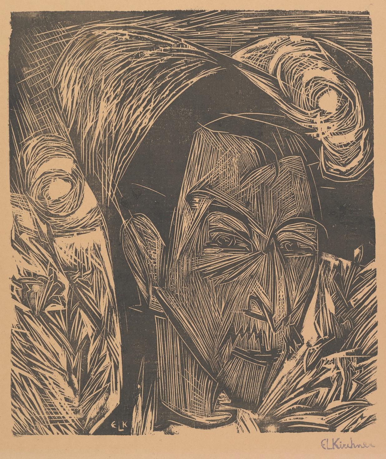 Ernst Ludwig Kirchner - Portrait of David Müller - Wood engraving - 1919