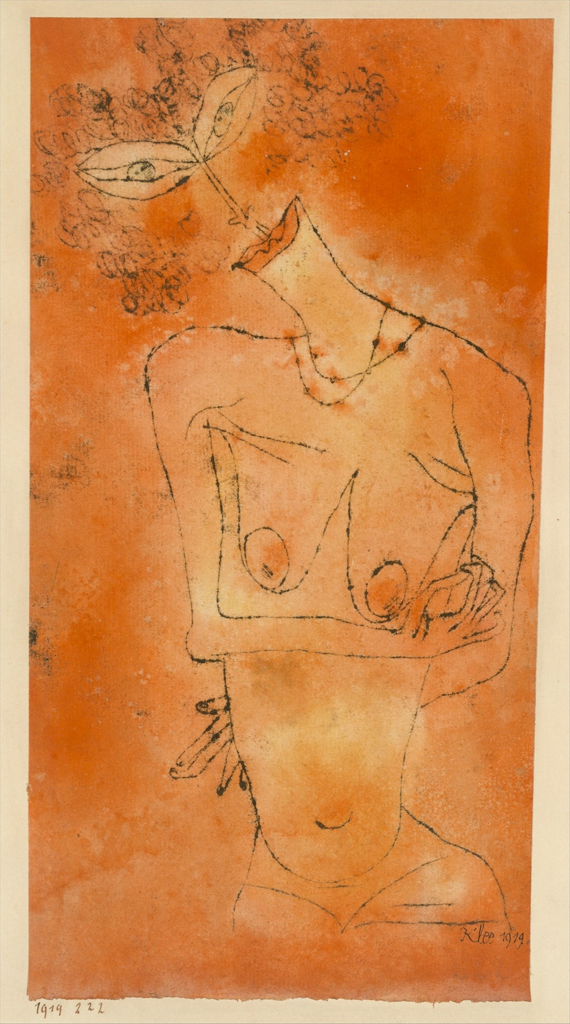 Paul Klee - Lady Inclining Her Head - Watercolor and transferred printing ink on paper mounted on cardboard - 1919