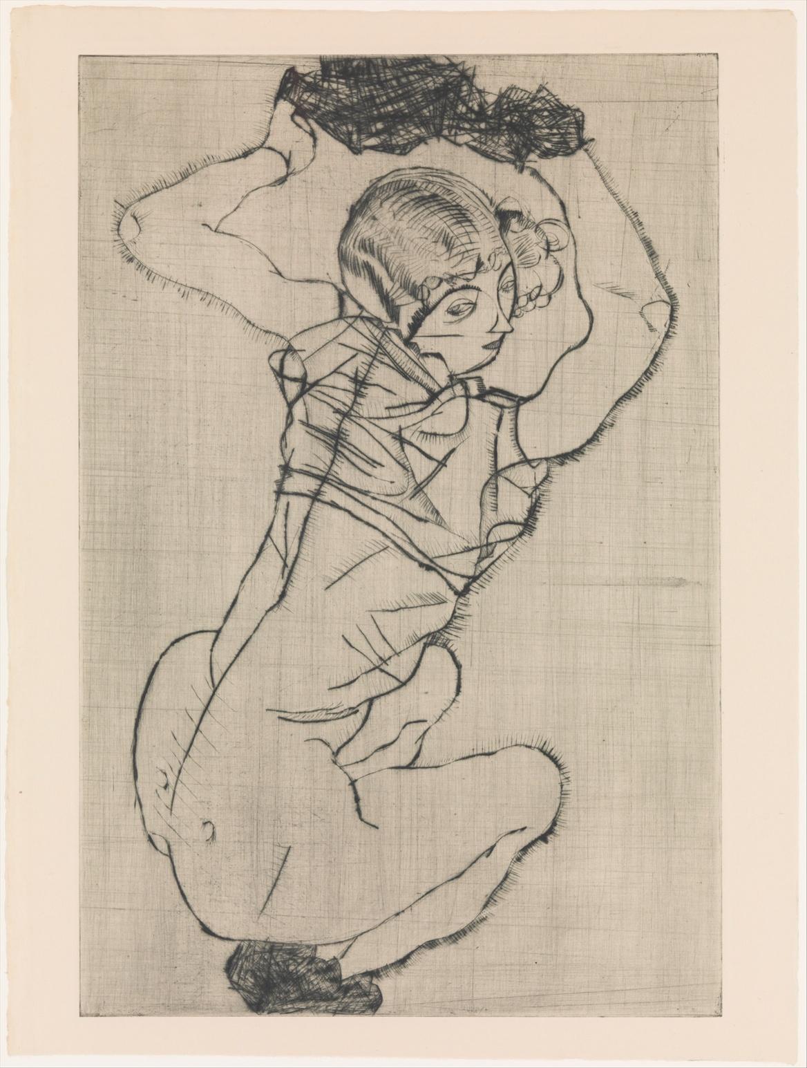 Egon Schiele - Squatting Woman - Drypoint - 1914