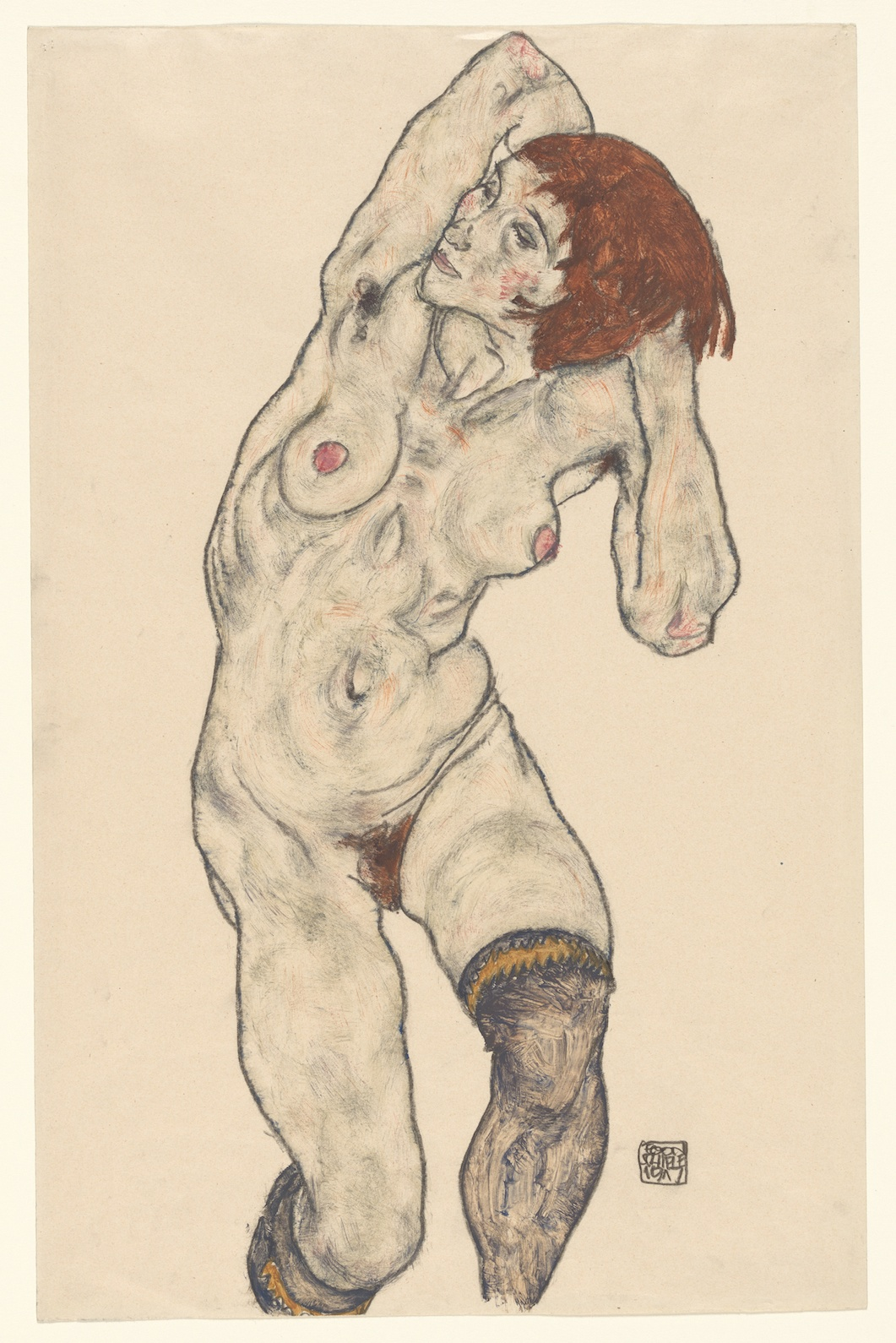 Egon Schiele - Standing Nude in Black Stockings - Watercolor and charcoal on paper - 1917