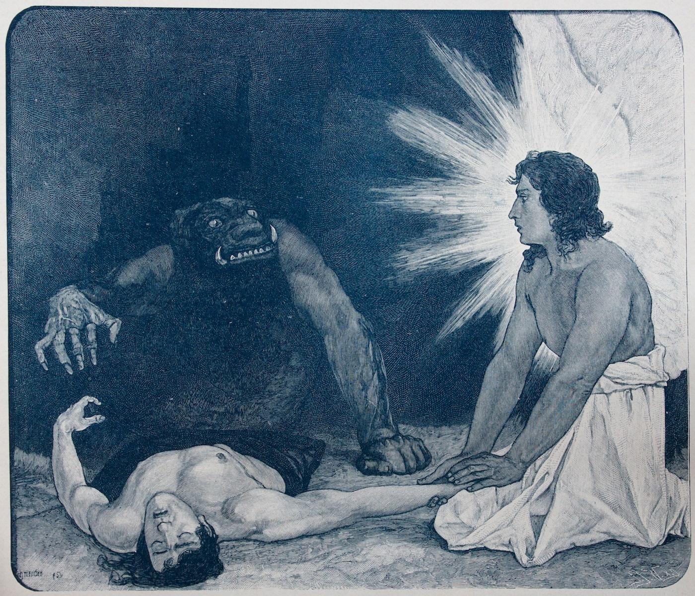 Sascha Schneider - Around a Soul - Wood engraving - 1895