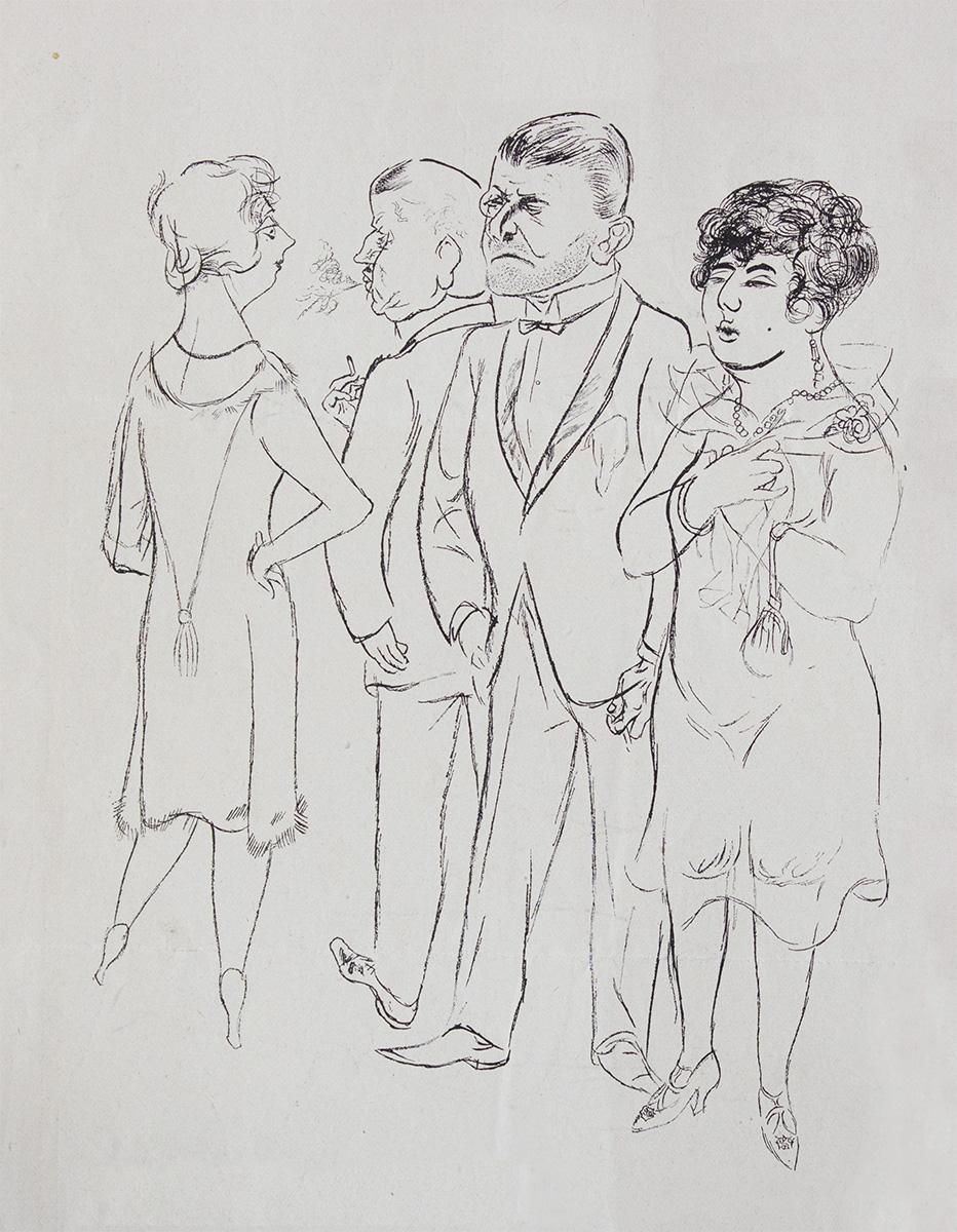 George Grosz - George Grosz nasce nel 1893 a Berlino.È uno degli artisti principali associati al movimento Neue Sachlichkeit (New Objectivity), insieme a Otto Dix e Max Beckmann, ed è stato membro del gruppo Berlin Dada. Dopo aver osservato gli orrori della guerra come soldato nella prima guerra mondiale, Grosz concentra la sua arte sulla critica sociale. Profondamente coinvolto nell'attività di pacifista di sinistra, realizza numerosi disegni per molti periodici satirici e critici e partecipa attivamente a proteste e sconvolgimenti sociali. I suoi disegni e dipinti dell'epoca di Weimar, criticano aspramente il decadimento della società tedesca. Durante la I guerra mondiale Grosz, arruolato nella fanteria dell'esercito tedesco, ritrae con satira mordente il militarismo e la spietatezza delle classi dirigenti. A Berlino, nel 1917, si unisce al movimento di Dada, in protesta contro la guerra e lo sfruttamento, alla ricerca di un nuovo umanesimo. La sua critica sociale porta alla luce la pietà per il povero e l'odio per il capitalismo penetrando profondamente nella coscienza della mentalità postbellica in una Germania colpita dalla miseria, dall'inflazione e dal fallimento politico.Poco prima che Hitler arrivi al potere, Grosz si trasferisce in America per insegnare arte, evitando la persecuzione nazista che bolla i suoi lavori come