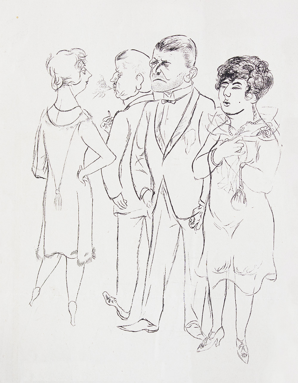 George Grosz - In Der Pause (In The Break) - Lithograph on paper - 1926