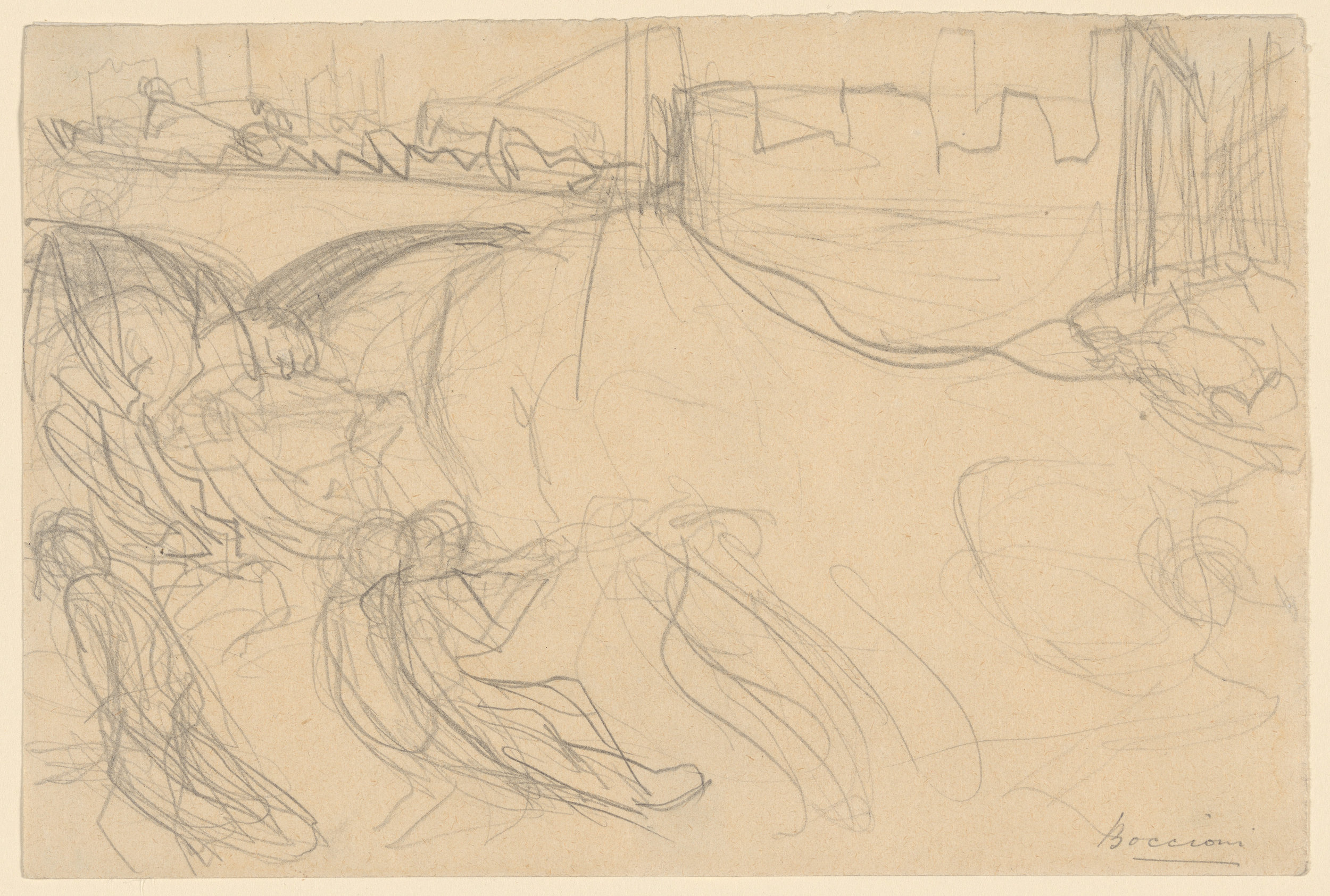 "Umberto Boccioni - Study for ""The City Rises"" - Graphite on paper - 1910"