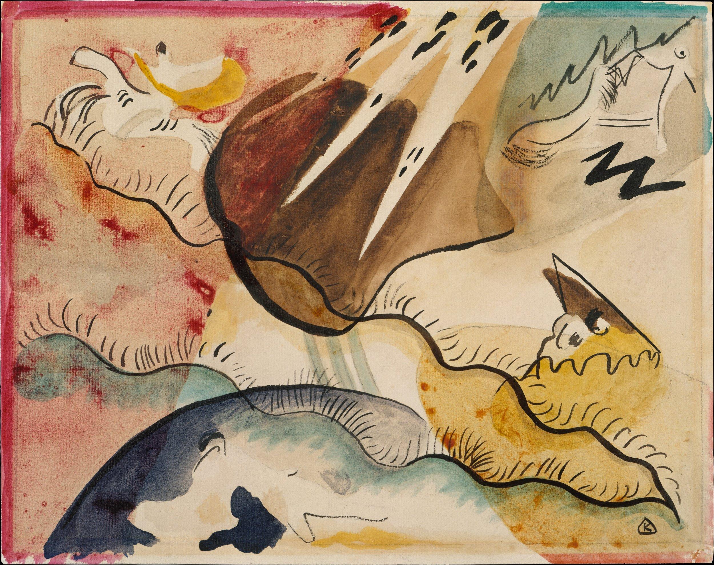 Wassily Kandinsky (1866, Mosca) - Uno dei primi esponenti della pura astrazione nella pittura moderna. Dopo mostre di avanguardia di successo, fondò l'influente gruppo di Monaco