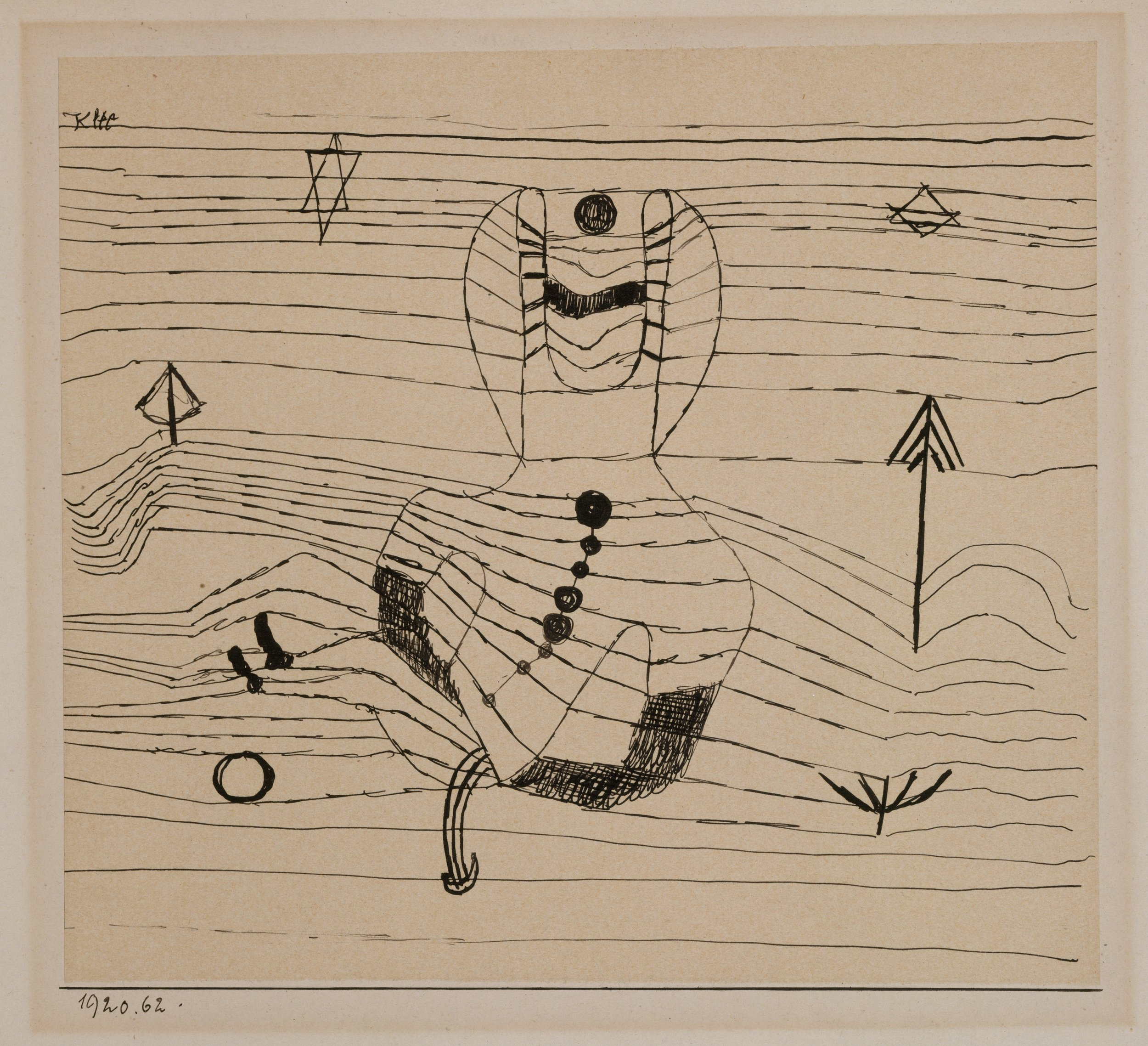 Paul Klee (1879, Münchenbuchsee, Svizzera) - The prevalent geometric aesthetic of the 1920s and Klee's attempts to teach a methodology of art led him to rationalize his own practice as well. His work of the Bauhaus decade is more geometric than before, and the number of forms employed in a given composition is sharply reduced. Among the many types of compositions resulting from this practice are pictures made entirely of coloured squares, horizontal striations, or patterns resembling basket weave and, among his most evocative, a number of paintings in which puzzlingly disparate objects-faces, animals, goblets, heavenly bodies, coexist in a black undifferentiated space.As a modern artist, during the thirties, Klee was dismissed from his position, and his house and studio were searched by the Gestapo on account of his known left-wing sympathies. Despite these difficulties, Klee continued to produce his art without restraint. The drawings he did at this time are mostly representational and even narrative; many directly reflect the political disturbances of the day, dealing in ironic fashion with demagogy, militarism, political violence, and emigration.