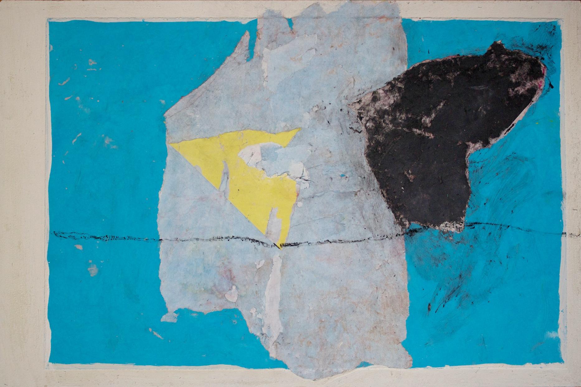Marcello Mariani - Forma Archetipa - tar, coal dust and collage on masonite - 2009