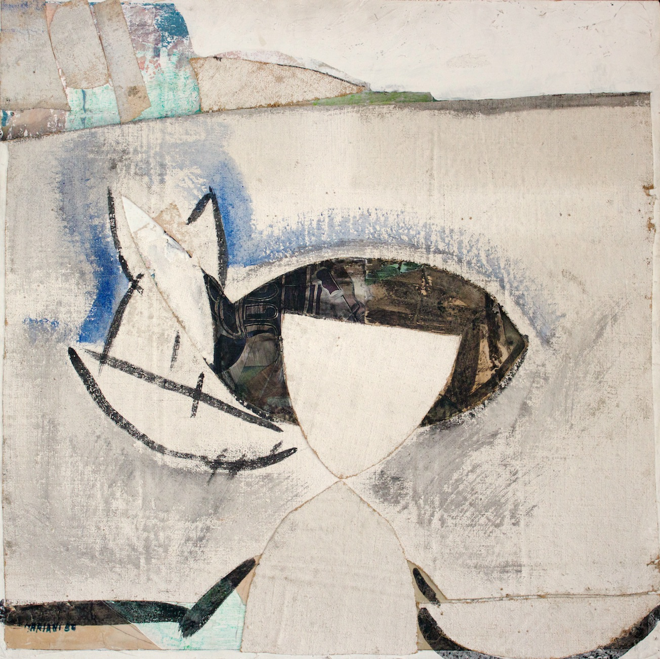 Marcello Mariani - Senza Titolo - Mixed media and collage on canvas applied on board - 1956