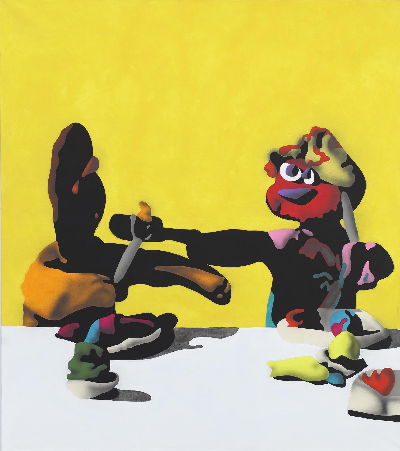 Girl Feeding Slapjack, 2003, acrylic on canvas, 170 x 150 cm