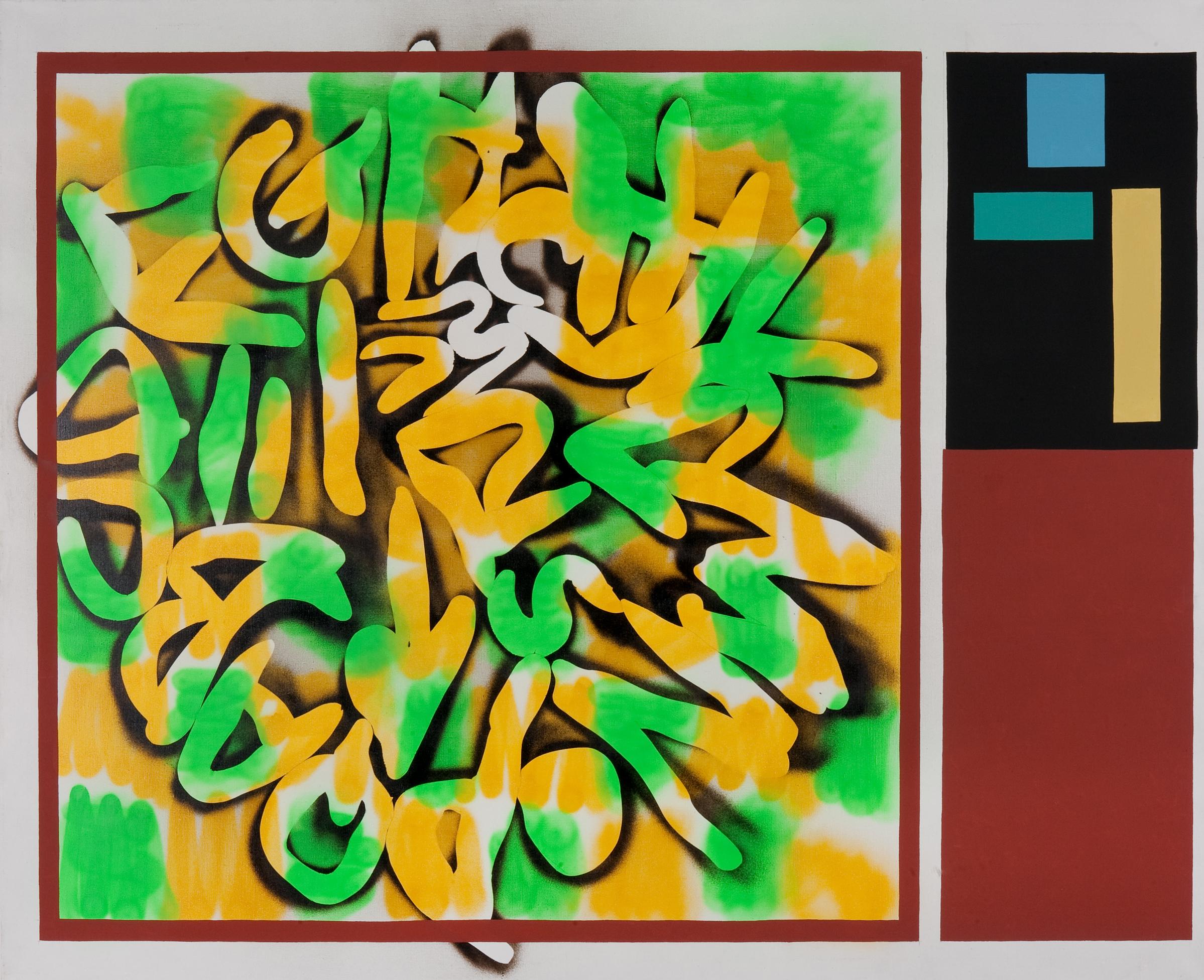 ABCD, 2009, acrylic, spray on canvas, 180 x 220 cm