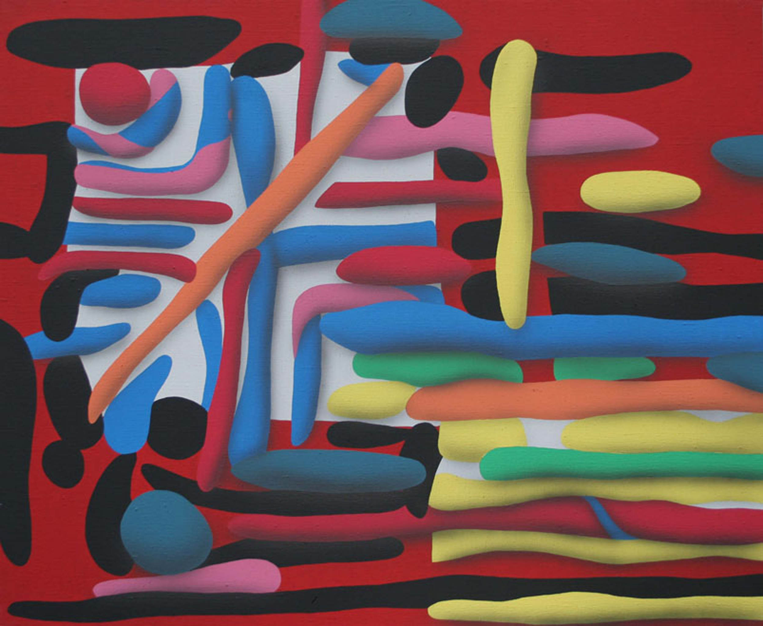 Touches Of Surface And Volume Forms IV. 2010, acrylic on canvas, 70 x 85 cm