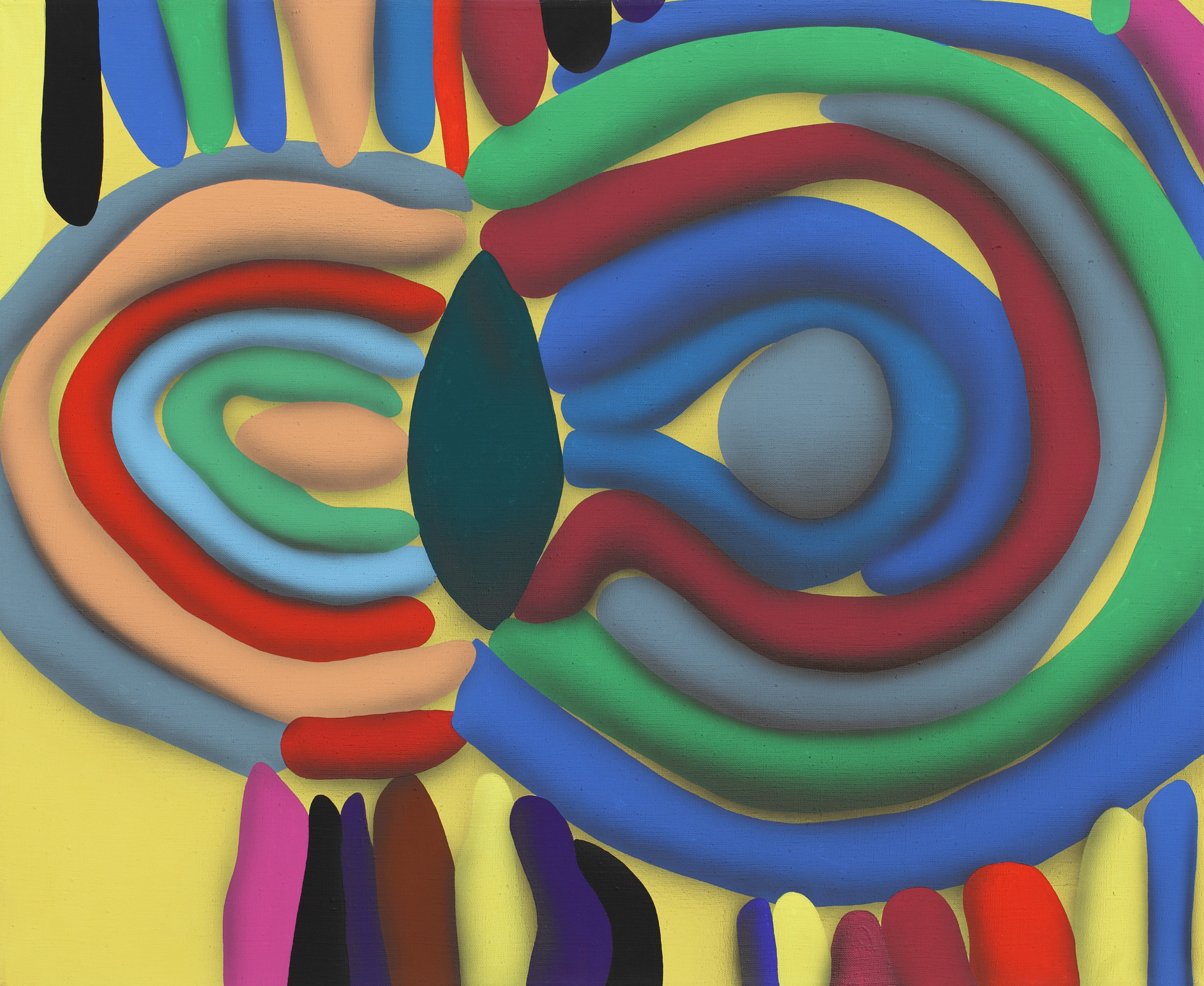 Touches Of Surface And Volume Forms III. 2010, acrylic on canvas, 70 x 85 cm