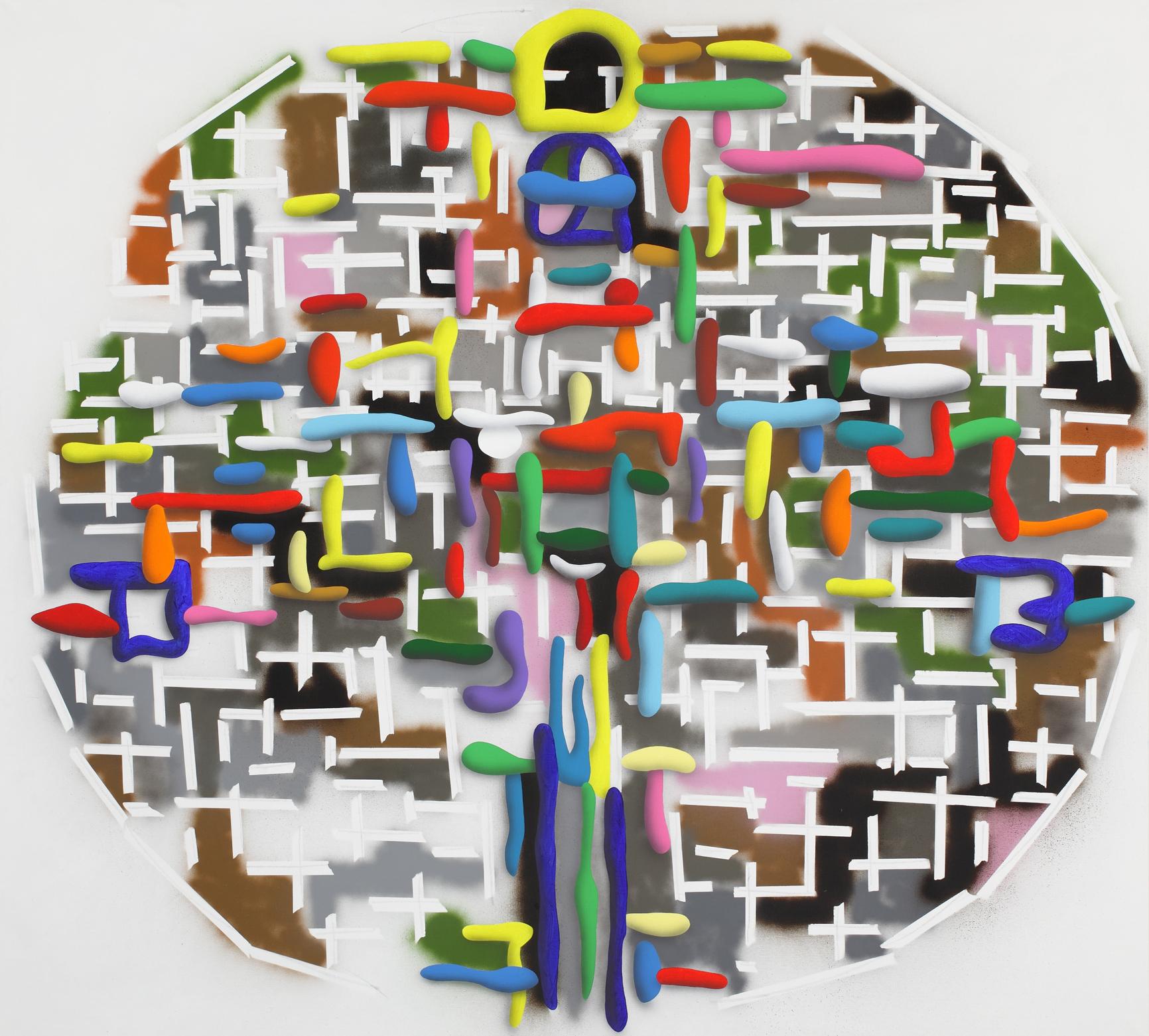 Mondrian And The One, 2010, acrylic on canvas, 180 x 200 cm