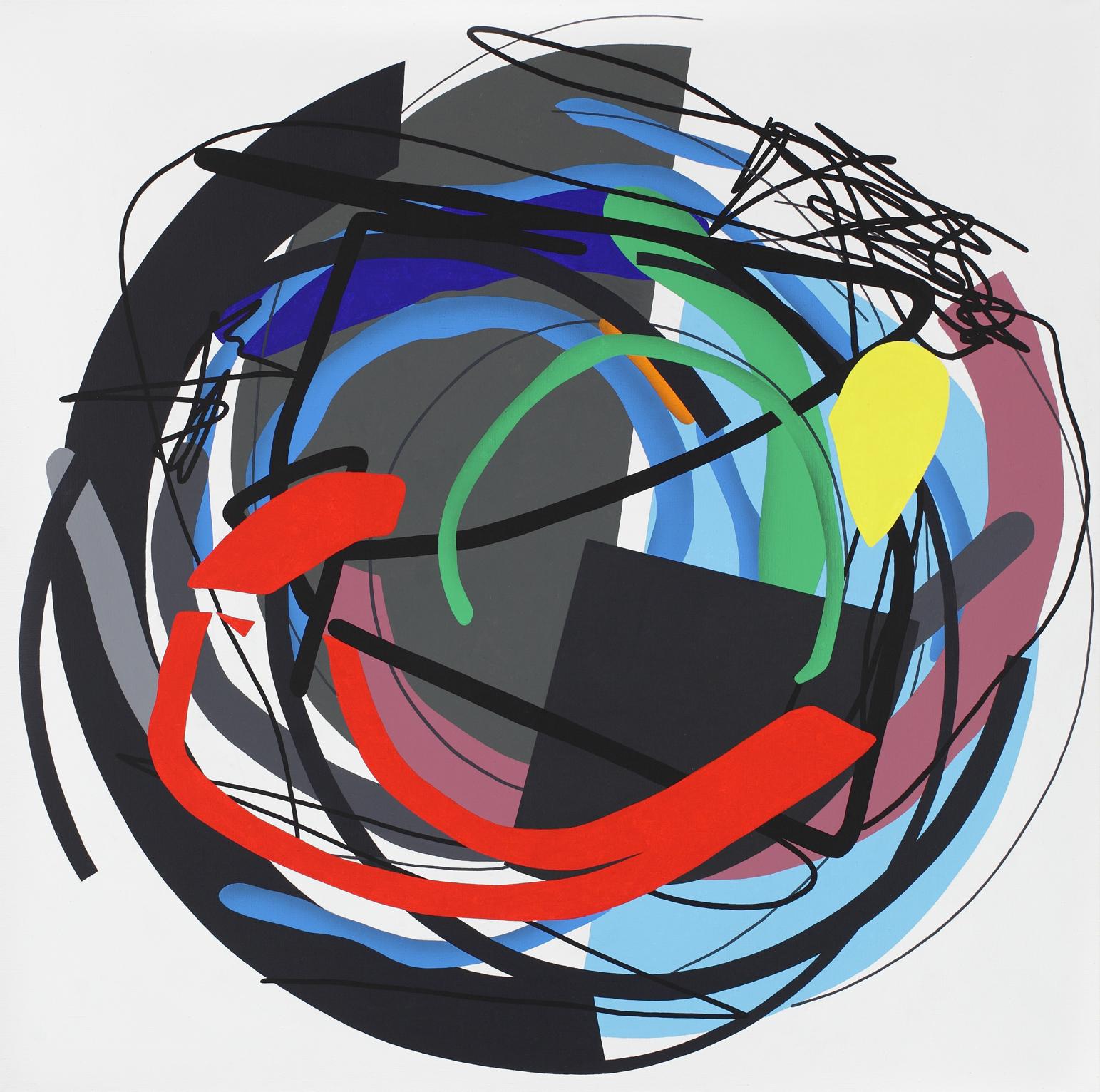 Mandala No. 12 /Split in half/ 2011, acrylic on canvas, 200 x 200 cm