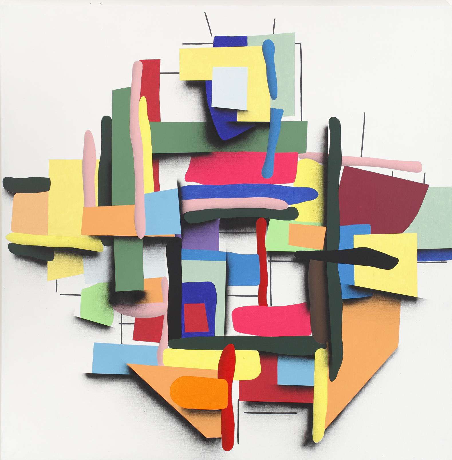 Neomondrians, Composition No. 8, 2012, acrylic, spray on canvas, 150 x 150 cm