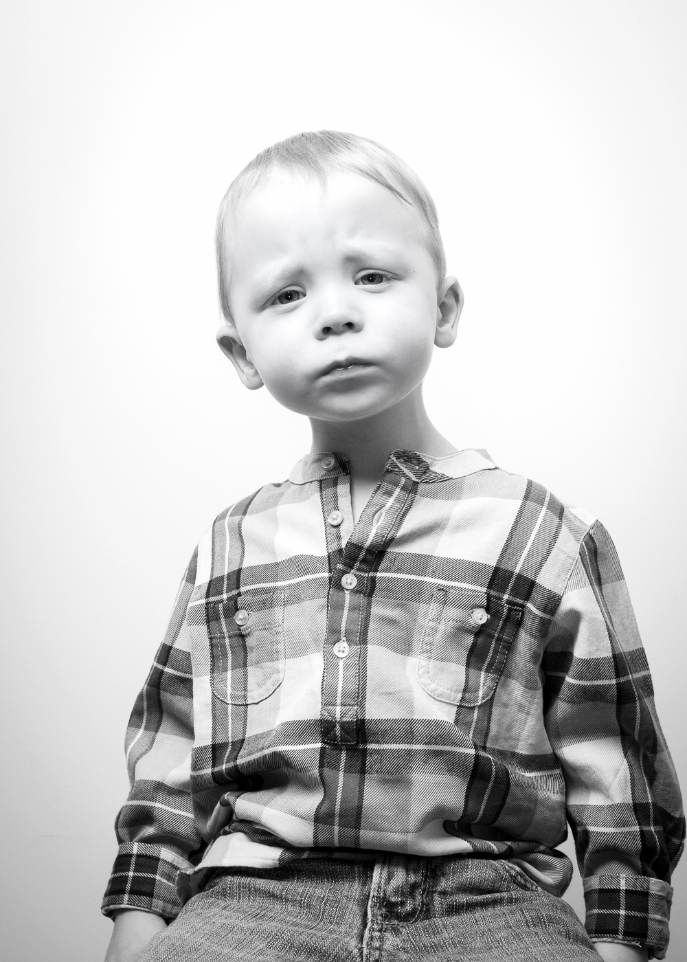 Child studio portrait photography - B&W