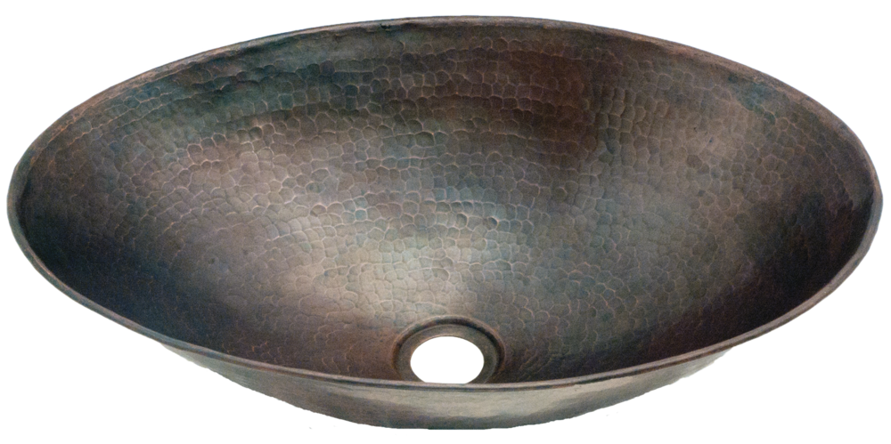 Copper Potter 15 Inch Diameter Hammered Oval Vessel Sink With Vanity Drain Hole Blue Pearl Stone