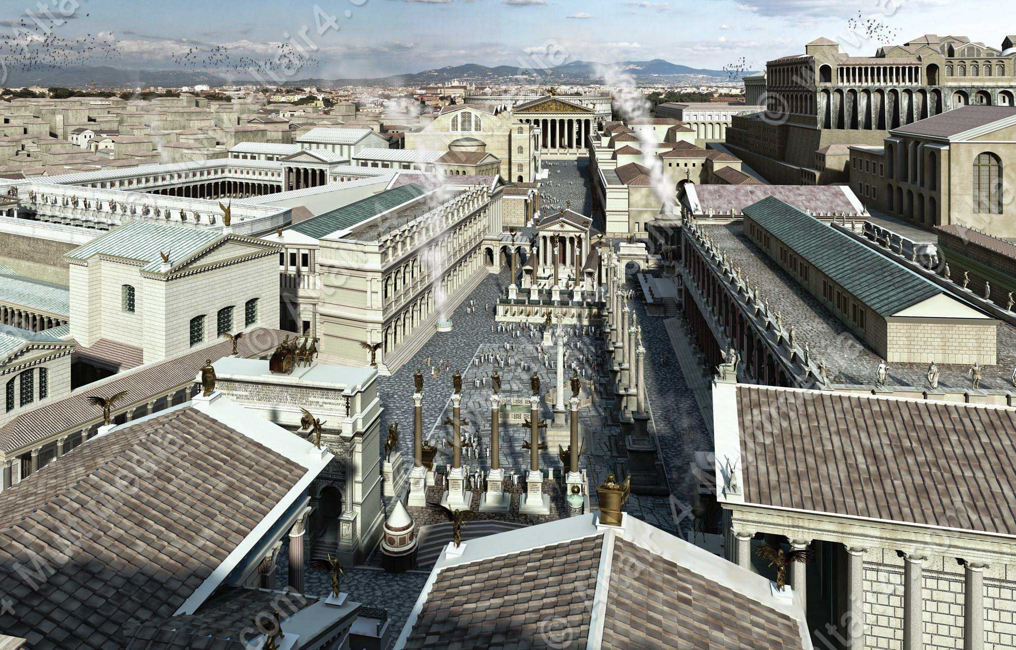 The Forum in Rome depicted as it once looked 2000 years ago clad in Carrara Marble.