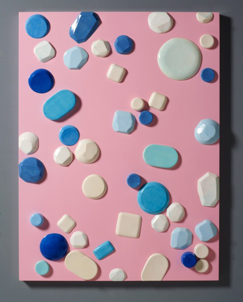 Untitled (2013) Automotive-finished wood panels with hand-glazed, high-fired ceramics. 48 x 36 inches