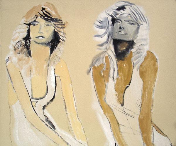 """Two Farrahs"" (2009)<br>Gouache on paper, 9 x 11 inches."