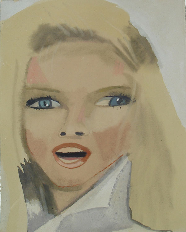 """""""Christie"""" (2009)<br>Gouache on paper, 7.5 x 6 inches."""