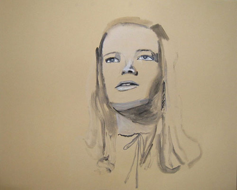 """""""Diane"""" (2009)<br>Gouache on paper, 18 x 22 inches."""