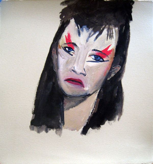 """""""Diane"""" (2009)<br>Gouache on paper, 5.5 x 5 inches."""