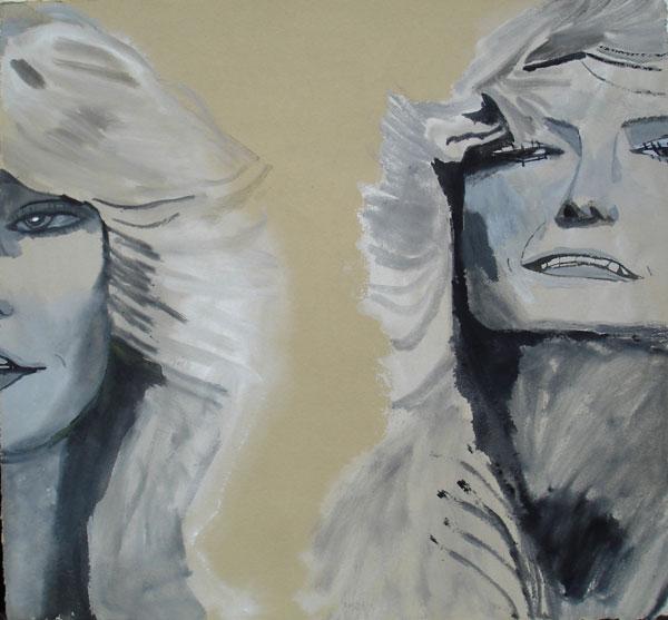 """Two Farrahs"" (2009)<br>Gouache on paper, 11 x 12 inches."