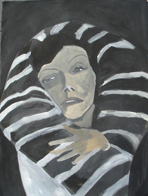 """Greta"" (2009)<br>Gouache on paper, 30 x 22 inches."