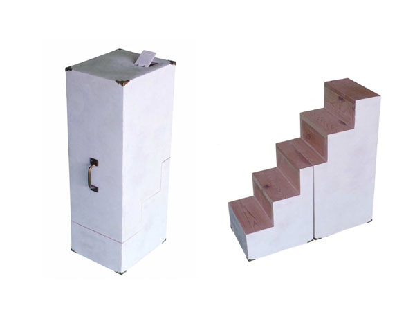 """""""Portable Staircase"""" (2008)<br> Wood, bondo, plaster, brass lighting.<br> 29 x 10 x 13 inches."""