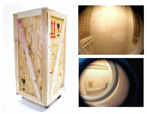 """""""A Room with a Viewer"""" (2008)<br> Wood, drywall, paint, peepholes, incandescent lighting, <br>54 x 23 x 23 inches."""