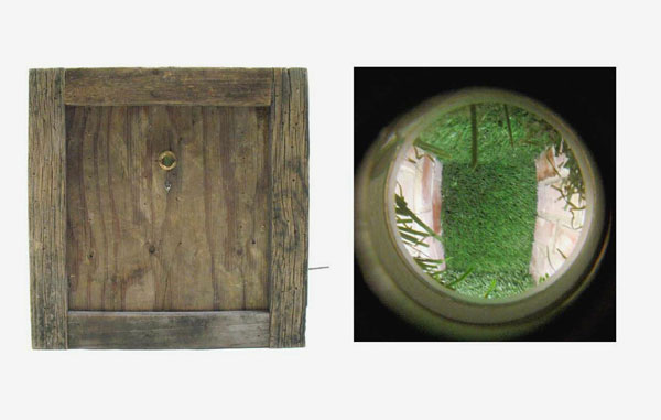 """""""Suburban Landscape"""" (2008)<br>Wood, brick, mortar, synthetic turf, peephole, fluorescent light.<br>18 x 18 x 18 inches."""