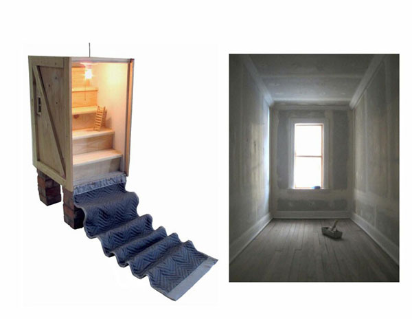 """""""Untitled"""" (2008)<br> Wood, brick, plaster, moving blanket, incandescent light. <br> 45 x 19 x 60 inches."""