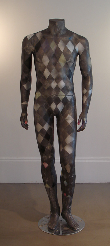 """Harlequinized Mannequin"" (2011)<br>Graphite, spray paint, gesso on mannequin 66 x 22 x 15 in."