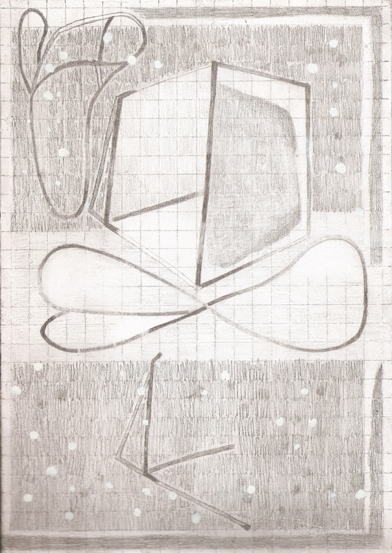 """""""Untitled Machine Drawing I"""" (2011)<br>Graphite on gessoed paper, 12 x 8 in."""