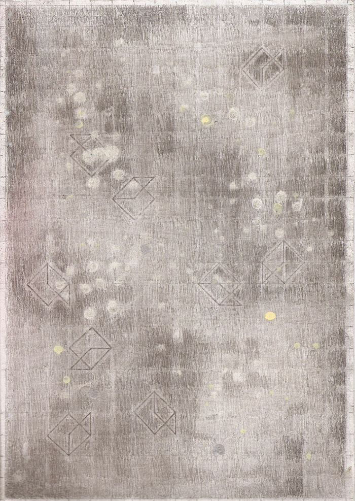 """""""Outer Space Series II"""" (2011)<br>Gouache, graphite on gessoed paper, 12 x 8 in."""