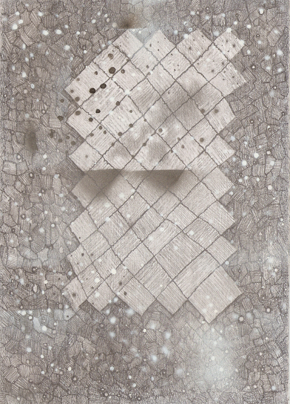"""""""Outer Space Series I"""" (2011)<br>Gouache, graphite on gessoed paper, 12 x 8 in."""