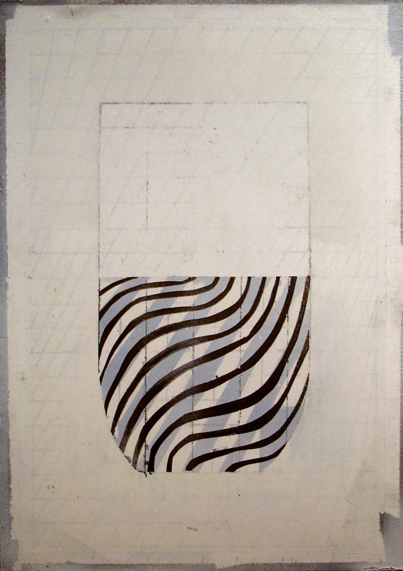 """""""This Glass of Water is Half Finished I"""" (2011)<br>Graphite, spray paint, gesso on paper 12 x 8 1/4 in."""