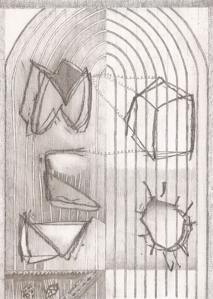 """""""Machine Drawing I (Creature Comforts"""" (2011)<br>Graphite on gessoed paper, 12 x 8 in."""