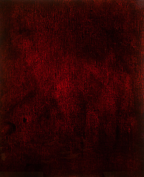 """ROZE 12"" (2012) <br>Blood, gauze preserved on plexiglass, UV resin.<br>44 x 36 x 3 inches"