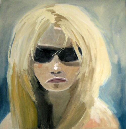 """Brigitte - Glasses"" (2007)<br>Gouache on paper, 14 x 14 inches."