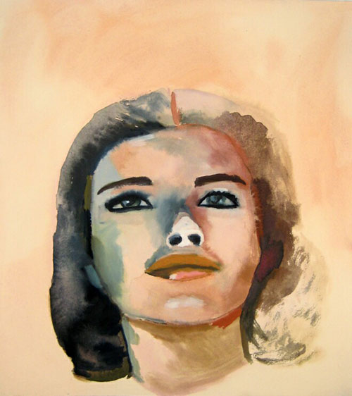 """""""Grace"""" (2007)<br>Gouache on paper, 19 x 15 inches."""