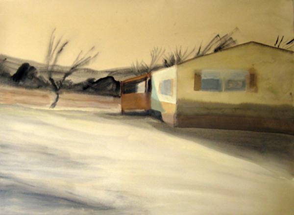 """Dark Landscape"" (2007)<br>Gouache on paper, 21 x 29 inches."