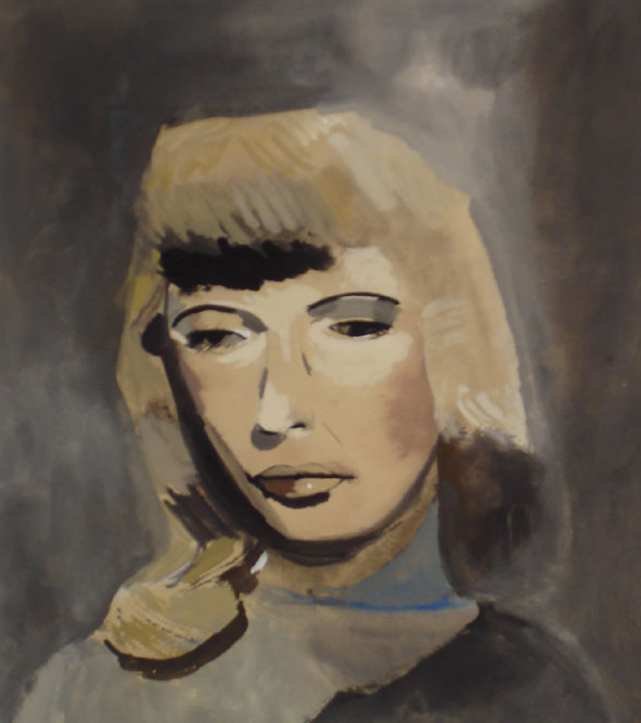 """""""Barbara"""" (2007)<br>Gouache on paper, 16 x 16 inches."""