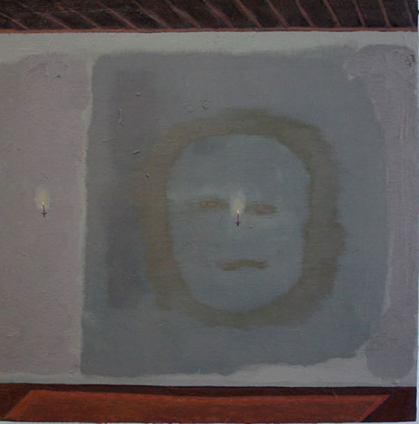 """""""Ghost in the Hall"""" (2009)<br>Oil on canvas, 18 x 18 inches."""