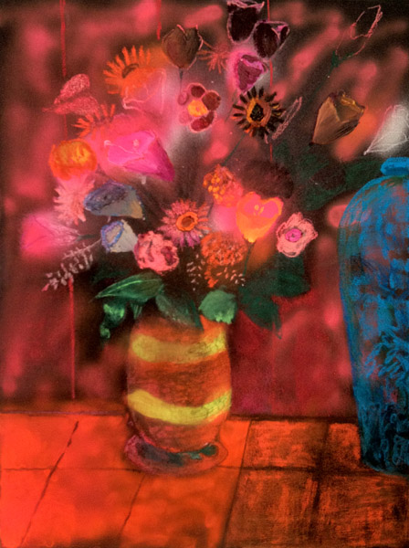 """Flowers at Korean BBQ ""<br>Oil, spray paint on canvas (2012)<br>24 x 18 inches"